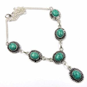 """135.00Cts Green Turquoise Gemstone Silver Overlay Handmade Necklace 20"""""""