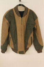 MENS HUNTING HORN CLASSICS VTG BROWN/GREEN LEATHER BOMBER/LETTERMEN JACKET SZ M
