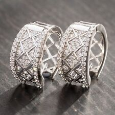 Thick White Gold Iced Sterling Silver Huggie Cz Wide Hoop Earrings For Men