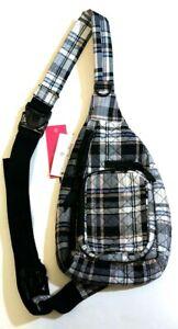 NWT Vera Bradley Mini Sling Convertible Backpack Belt Bag in Cozy Plaid Neutral
