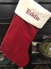 Pottery Barn Velvet Stocking-Red/Ivory cuff size Medium-mono Eddie