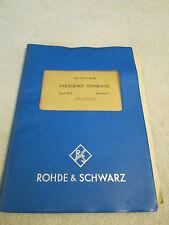 Manuel Rohde & Schwarz Xsa Quartz Fréquence Standard Oscillateur