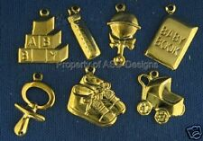 70pc Gold Plate New Baby Toddler Infant Lot Charms 6461