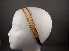 Blonde thin skinny faux hair braid double headband braided
