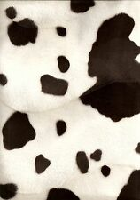 Brown Cow Animal Print faux Fur/Velour velboa Fabric/Material - free uk p&p