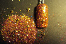 glitter mix acrylic gel nail art  CROSS YOUR FINGERS  gold  cross charms w/ mix