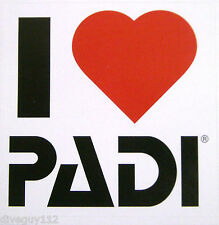 "Scuba Diving Sticker Decal - 'I (Love / Heart) PADI' - 3"" x 3"""