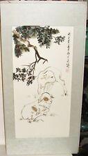 CHINESE FEATHER TREE & LAMB ACRYLIC ON WOOD PAINTING
