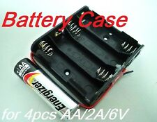 Battery Box Holder Batteries Case for 4 packs AA, 2A  6V Cell w/ 6'' Leads wire