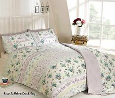 Floral Flower Print Duvet Quilt Cover Bedding Bed Sets - 13 X Designs Available Rise & Shine Duck Egg King Size