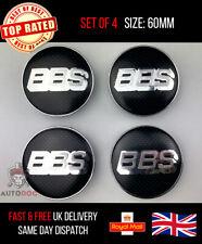 4x 60mm Carbon BBS Wheel Centre Cap Alloy Cap Set Badge Black/Sliver