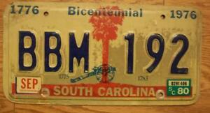 SINGLE SOUTH CAROLINA LICENSE PLATE - 1980 - BBM 192 - BICENTENNIAL