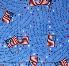 By 1/2 Yard Quilting Treasures Patriotic Fabric ~ Flag Pledge of Allegiance Blue