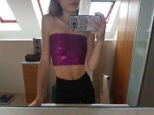 Purple Shimmer Bandeau top. Crop top. club wear. festivals
