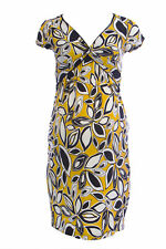 OLIAN Maternity Women's Yellow Floral Print Knot Front V-Neck Dress S $148 NWT