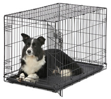 """36"""" Dog Crate Kennel Folding Metal Wire Pet Cage Outdoor For Medium Large Dogs"""