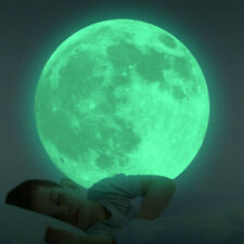 20cm 3D Large Moon Fluorescent Wall Sticker Removable Glow In The Dark Sticker B