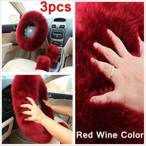 3pcs Car Accessories Furry Interior Car Steering Wheel Cover Shifter Brake Glove