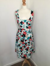 LK Bennett Dress 16 Floral Scribble Pattern White With Green Black and Coral