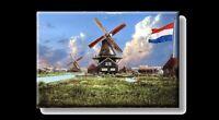 Holland Windmühle in Dorf mit Flagge Foto Magnet Niederlande Souvenir,New