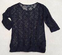 NEXT Ladies Black 3/4 Long Sleeve Blouse Top Sz 6 Polyester