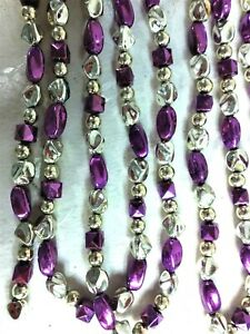 NWT Santa's Best Christmas Garland - Silver, Gold & Purple Beads  - 9' Long