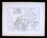 1855 Johnston Military Map - Napoleon Campaigns 1792 Netherlands Holland Belgium