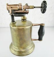 Vintage Huffman Mfg. Co. Blow Torch No.12 Dayton Ohio Brass w/Wood Handle