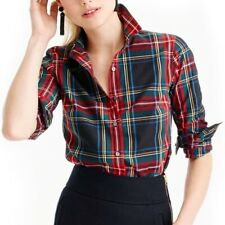 J CREW XS Petite Top Button Down Perfect Shirt Stewart Plaid Holiday Red Black