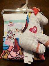 New, 2 Piece Jojo Siwa Bath Towel & Washable Unicorn Scrubby