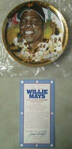 VINTAGE 1992 THE LEGENDARY WILLIE MAYS HAMILTON COLLECTION COLLECTOR PLATE + BOX