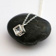 Solid Sterling Silver 925 Crystal CUBE chain necklace choice of length