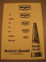 Mobil Oil Spezial Werbung aus den 1950.Jahren -Oldimer Benzin advertising
