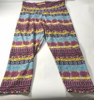 J&K Stretch Women's Aztec Cowgirl western leggings pants Pink Yellow Blue OS