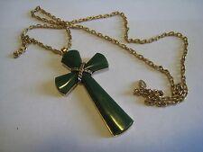 AVON Gold Tone Chain Necklace & Olive Green Plastic Crucifix, Cross Pendant