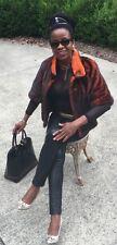 New Designer Feraud Paris Orange black Mink Fur Jacket, Coat Stroller bolero S-2