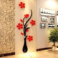 3D Beautiful Flower DIY Mirror Wall Decals Stickers Art Home Room Vinyl Decor