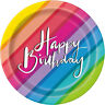 """8 x 7"""" Paper Plates Happy Birthday Rainbow Colour Adult Party Tableware Supplies"""