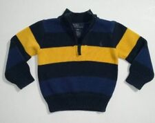 Polo Ralph Lauren Boy Size 24 Months Navy Yellow Striped 1/2 Zip Sweater