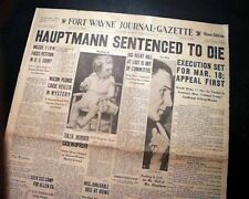 BRUNO HAUPTMANN DEATH SENTENCE Charles Lindbergh Baby Kidnapping 1935 Newspaper