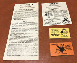 Vintage 1961 Monopoly Game Replacement Pieces Instructions Cards