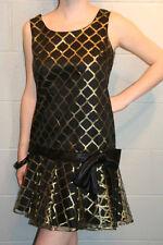 S BLACK METALLIC GOLD LACE NET VTG 60s MOD DROP SKIRT WAIST SCOOTER PARTY DRESS