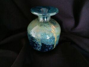 Mdina Art Glass Bottle Shaped Vase Turquoise And Gold