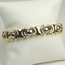 "Hollow Flexible Link Stylized XOXO Bracelet 14 kt Yellow Gold 7 3/4"" #4897"
