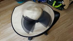 Ladies Stunning Straw & Black Bow Occasion Wedding Hat One Size by Peter Bettley