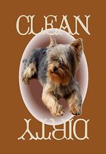 METAL DISHWASHER MAGNET Yorkie Dog Disc Brown Border Clean Dirty Dishes MAGNET