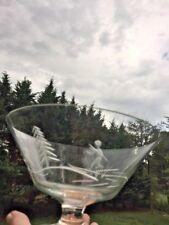 "MIKASA Etched Alpine Skier Patriot Platinum Crystal Pedestal Bowl Dish 4.5"" X 7"""