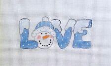 Blue Snow Snowman LOVE Handpainted Needlepoint Canvas