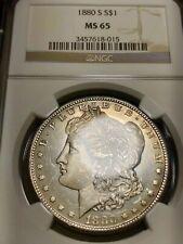 MS65 1880-S Morgan Silver Dollar - Toned Fatty - Graded NGC - Nice Satin Finish