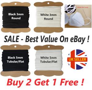 SALE - Premium Quality Elastic 3MM Round & 5MM Tubular/Flat For Masks Sewing
